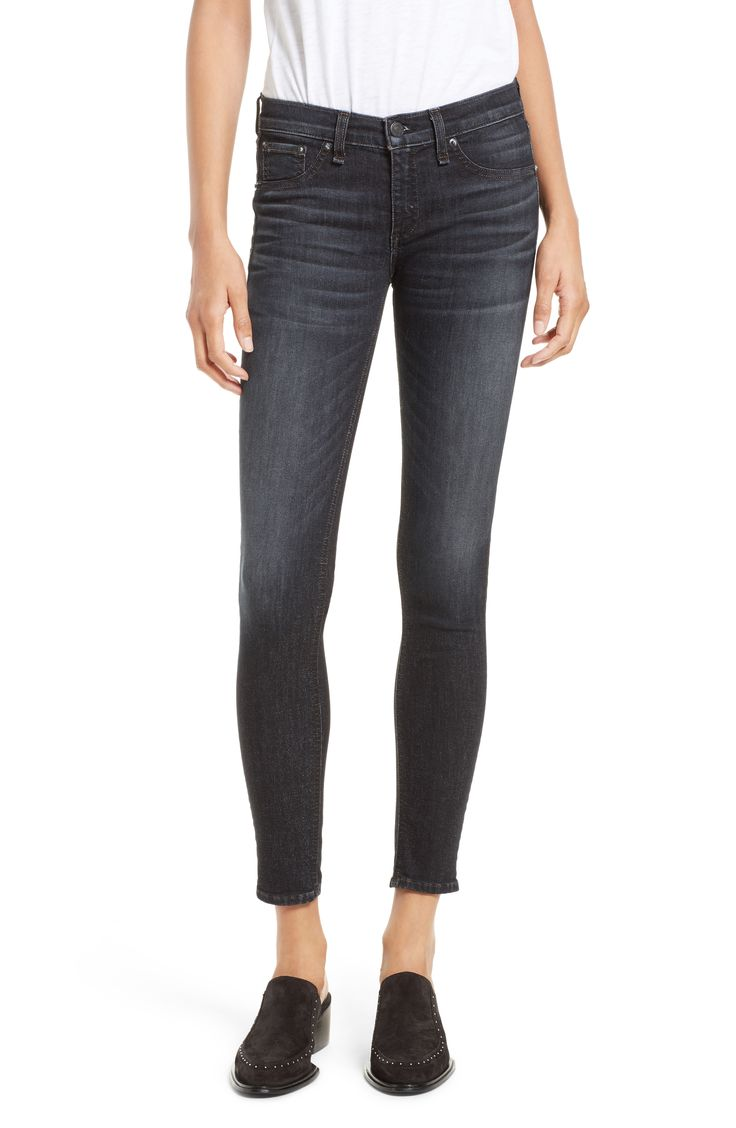 Skinny Jeans Black Rag & Bone jeans on sale!! Yay!! These are a faded black wash for an edgy and flattering look. Size UP! http://rstyle.me/n/cns2tf58an