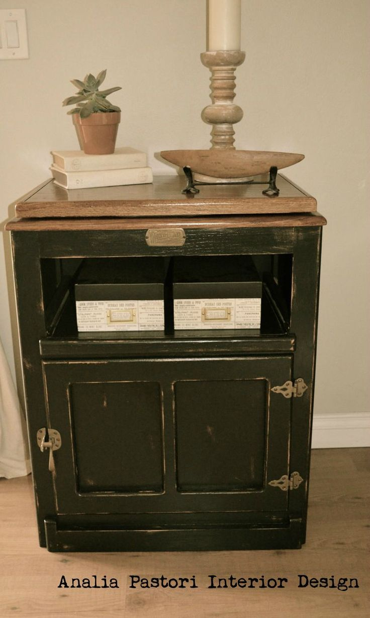 Black country furniture - Distressed Black Country Style Tv Stand By Analia Pastori Interior Design