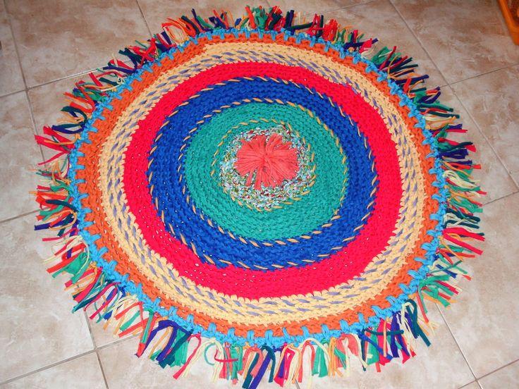 Alfombra al crochet de totora alfombras pinterest - Alfombras redondas ...