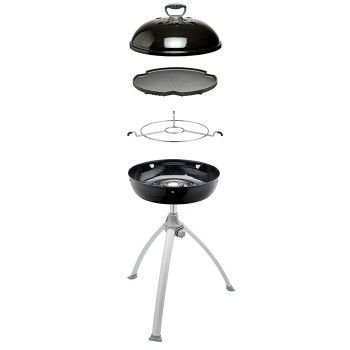 Robust design with a aluminium, 36cm BBQ top is ideal for grilling steaks, fish & hamburger patties. The cast aluminium ensures consistent, even heat distribution and retention. A solid pot stand is also included.The unit comes complete with a stainless steel burner and a rust-proof, porcelain enamel support pan, which ensures the wind does not blow the flame out on the burner on a windy day. The unit fits on top of a support tripod. #cadac #gas #bbq