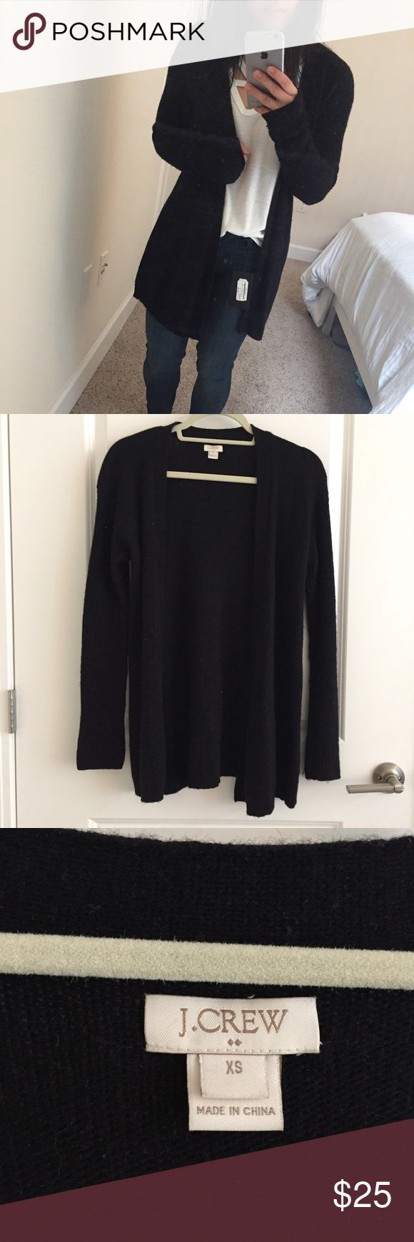 "J.Crew Open Cardigan in Black Well loved ""yoga"" cardigan by J.Crew in Black. Super easy to throw on when you are on the go or when you are feeling a Netflix and chill kind of day at home. J. Crew Jackets & Coats"