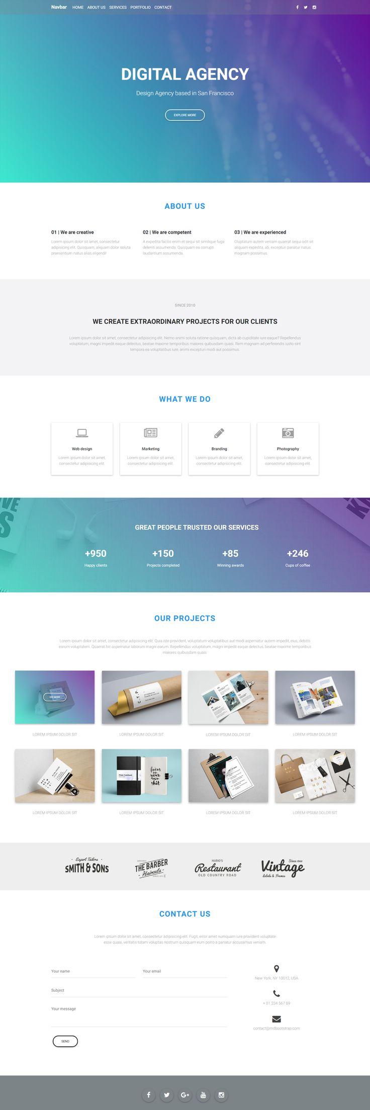 Material Design Digital Agency protfolio created with MDB UI kit.
