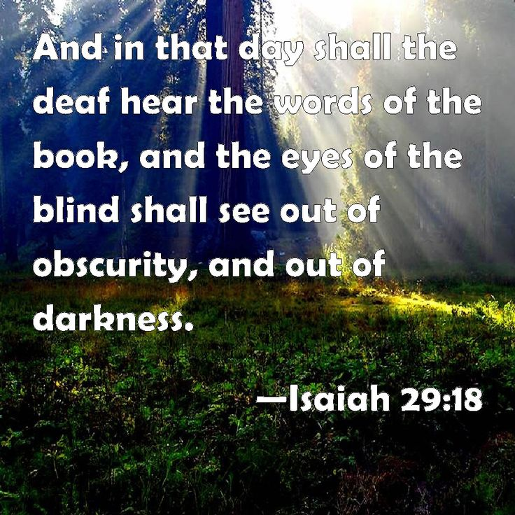 On that day the deaf will hear the words of a book, and out of gloom and darkness the eyes of the blind will see. -- Isaiah 29:18