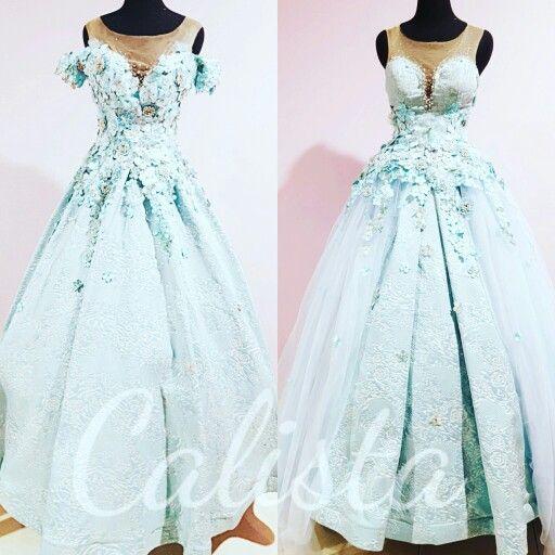 Blue ballgown.  Long dress.  Swarovski and 3d appliques details