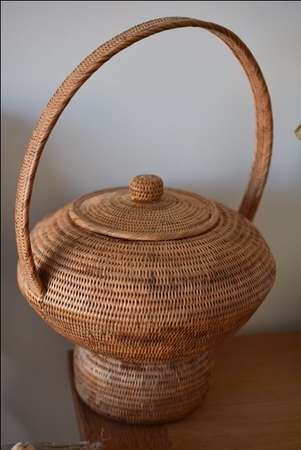 Antique woven decorative basket from Papua New Guinea. From a private collection in Perth, Western Australia