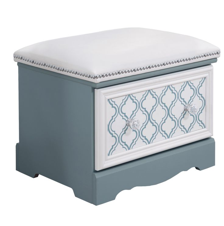 """Signature Design by Ashley Mivara Upholstered Storage Bedroom Bench   Wayfair Faux crystal knobs with a chrome color base. Reversible/removable drawer front panel for customization options being light blue, mirror, or a trendy trellis pattern. White faux leather, fully upholstered bench accented with chrome color nail heads. Side roller glides for smooth operating drawers. FEATURES: Mivara collection Made in the USA 1 Year warranty DIMENSIONS:16.32"""" H x 20.26"""" W x 15.79"""" D Weight: 35lbs"""