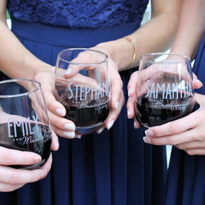 Bridesmaid Glass Design 3 Bridesmaid Wine Glasses Engraved