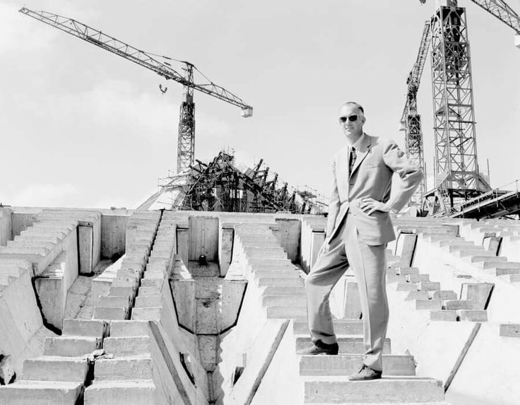 The designer of the Sydney Opera House,the Danish architect Jørn Utzon at the construction site in 1964. •National Archives of Australia•