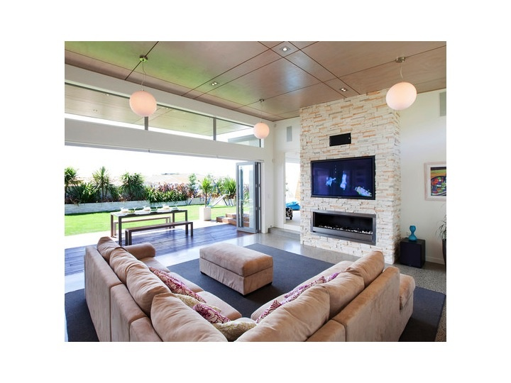 """Living Room: Build out """"bump out"""" to house mounted TV and ..."""