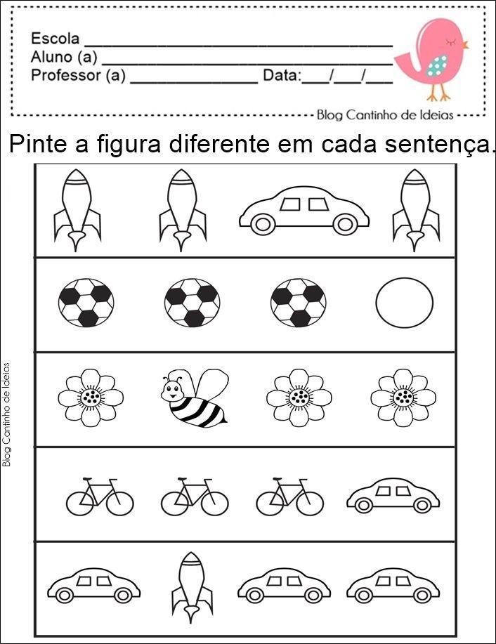 Blog Cantinho de Ideias: Matemática na Educação Infantil - Igual ou Diferen...