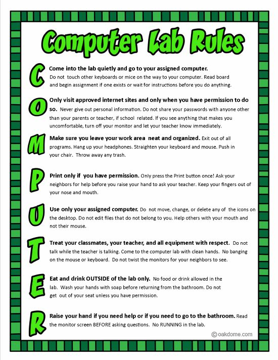 Computer Lab Rules -1  Idea for a beginning of the year activity?