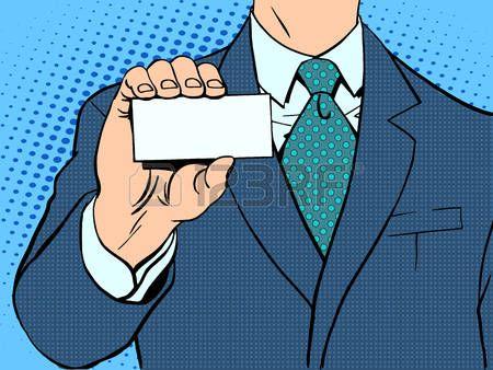 oeuvre art: Homme d'affaires et de carte de visite. pop art style rétro Illustration