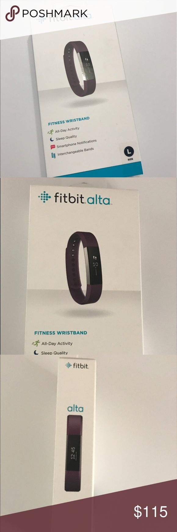 """New Plum Fit Bit Alta, size L As Fitbit says, """"motivation is your best accessory."""" Mesh fitness + fashion tracking:   All day activity, auto sleep tracking, reminders to move, clock, SmartTrack, tap display, call/text/calendar alerts, water resistant & long battery life. New unopened, sealed box. Want to change your look, swap out the band. Includes: Fitbit Alta tracker, classic wristband (Plum) & charging cable. Syncs with Mac OS X 10.6 & up, iPhone 4S & later, iPad 3 gen & later, Android…"""