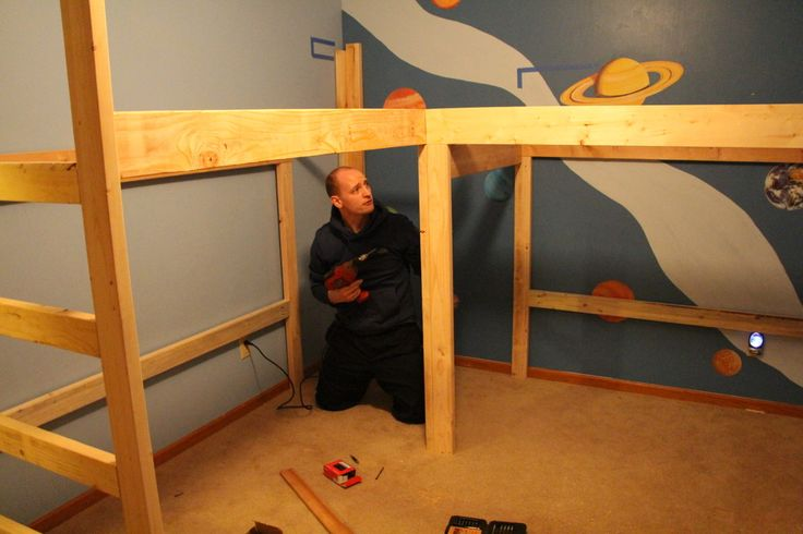 boys room makeover diy l shaped loft beds part i kevin 39 s board pinterest. Black Bedroom Furniture Sets. Home Design Ideas