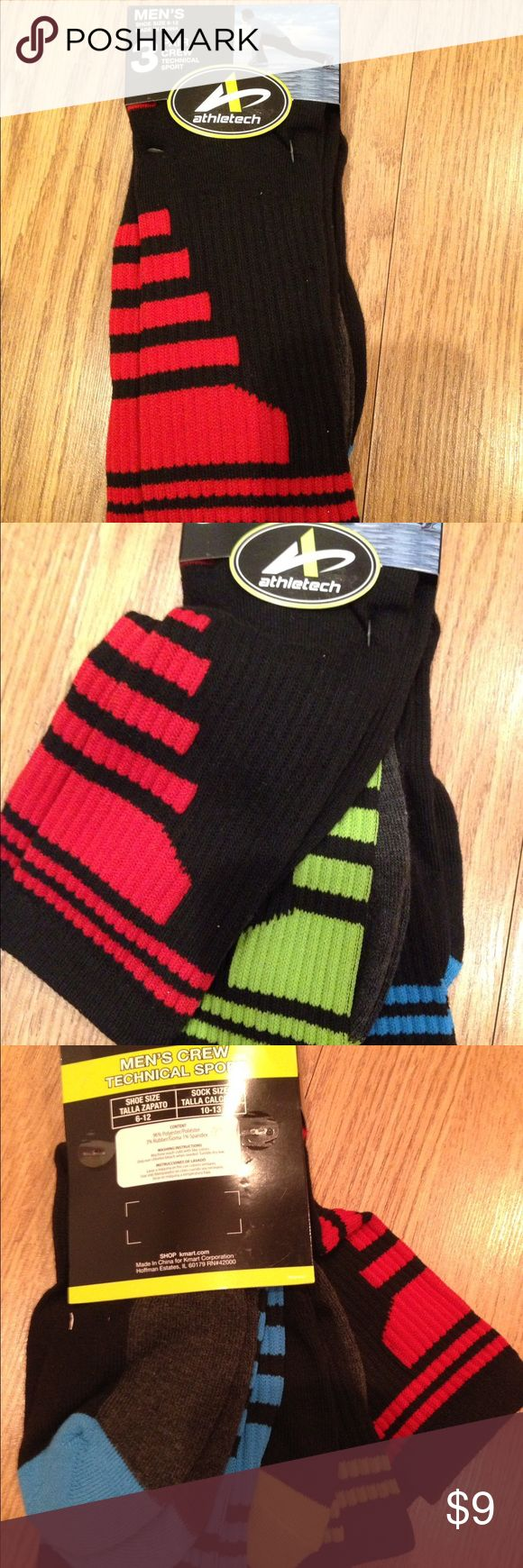 Bundle- 3 Pairs Men's Crew Technical Sport Socks Bundle of 3 Socks for men. Shoe size 6-12⭐️🌟✨ Athletech Underwear & Socks Athletic Socks