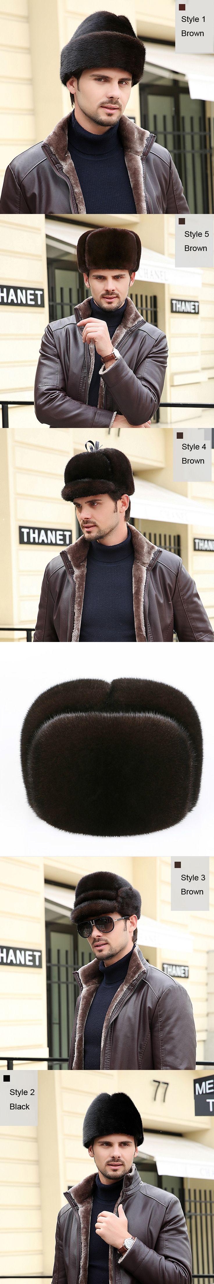 Svadilfari New 2017 Winter real fur hat Men/women mink fur hat Men's Mink Fur Trapper Cap Leather Hunting Hat Ushanka