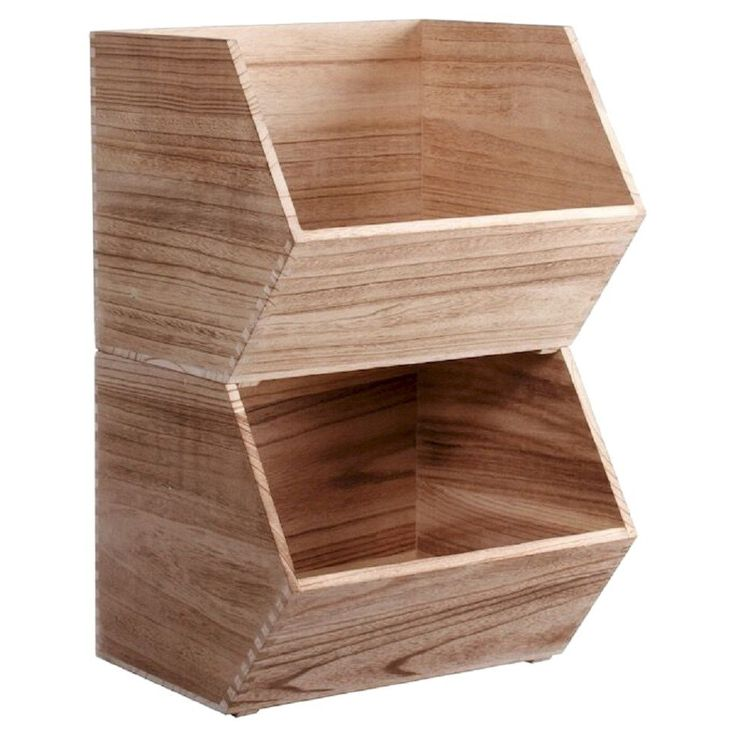 Large Stackable Wood Toy Storage Bin Natural Pillowfort