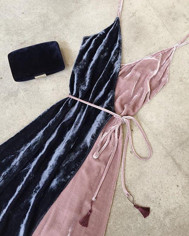 Blush Pink & Blue Gray Velvet Tassel Dress | Reformation