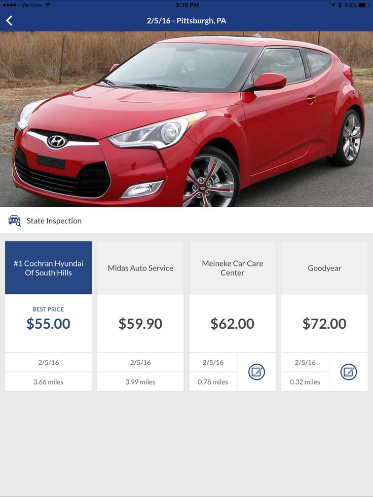 Cost quote for PA State Inspection on a Hyundai Veloster