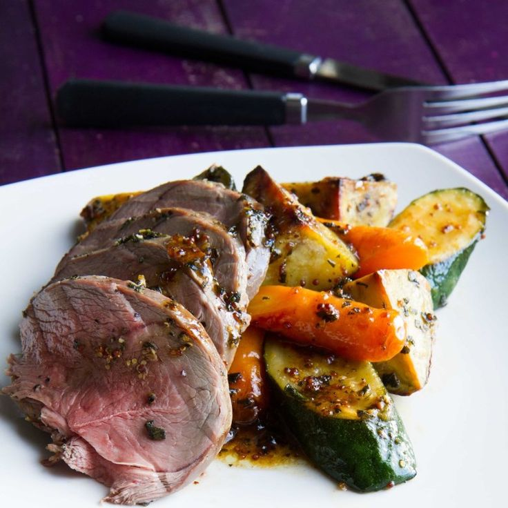 Sage Roast Lamb and Vegetables with Honey Mustard Dressing