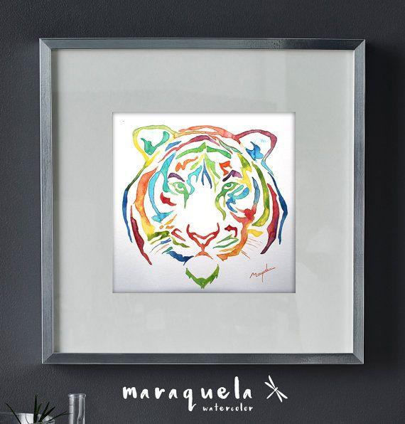 Tigre abstracto en acuarela. Colores vivos y alegres.Art Print Tiger Watercolor hand-made. By Maraquela Watercolor