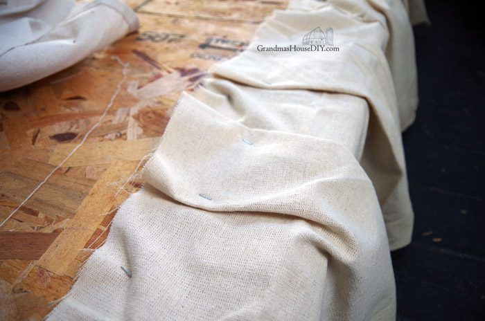 Making a No-sew Bed Skirt With Canvas Drop Cloths!