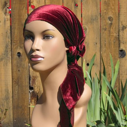 Celeste Pre-tied Velvet Headscarf--Long Ties Beautiful headscarf for cancer patients. Pre-tied. Looking beautiful has never been so easy.
