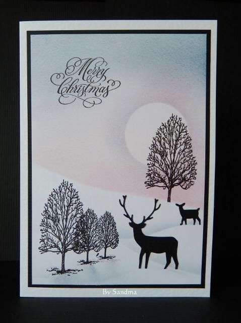 By Sandma - Christmas card made using sentiment and tree stamps by Inkylicious, Memory Box Deer Die and coloured with Distress and Impress Inks