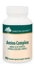 Amino Complex by Genestra. Amino Complex provides essential and non-essential amino acids from whey protein hydrolysate. The capsules are 100% pure vegetable-sourced.