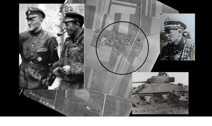 Photo du SS-Untersturmführer Fritz Freitag (à gauche en compagnie du SS-Untersturmführer Herbert Walther à Etavaux), mais que nous voyons à droite sur un schwimmwagen de l'unité aufklärer du II./12 de Karl-Heinz Prinz. Freitag est aperçu le 7 juin au Hameau de Franqueville lors de l'inspection des épaves de Sherman Vc du Sherbrooke Fusiliers Regiment. Une dizaine au total ont été détruit par la 5.Pz.Kompanie du SS.Pz.Regt.12.