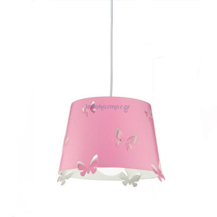 Παιδικό Κρεμαστό Φωτιστικό Με Ροζ Μεταλλικό Καπέλο Σε Σχέδιο Πεταλούδες Ø31 1xE27 Perenz