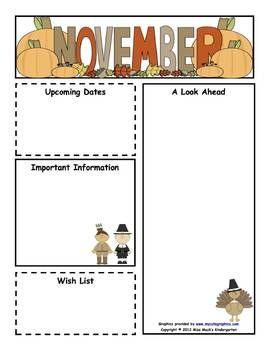 classroom newsletter templates free download | November Monthly Newsletter Template - Miss Kibben ...