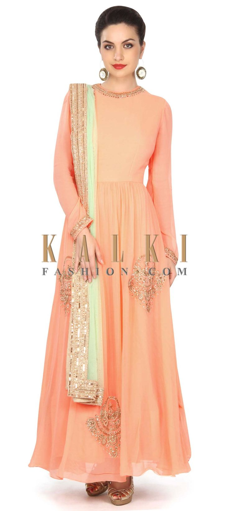 Buy this Peach anarkali suit adorn in kundan embroidered butti only on Kalki
