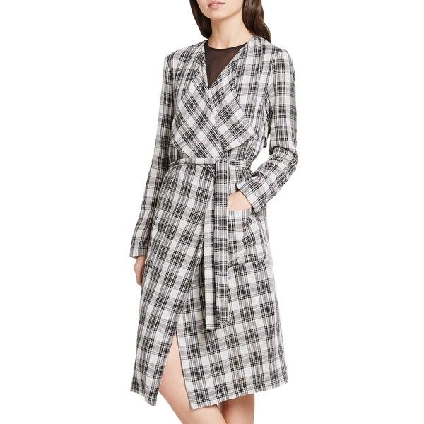 BCBGeneration Plaid Duster Coat ($75) ❤ liked on Polyvore featuring outerwear, coats, black combo, cotton coat, plaid coat, checked coat, bcbgeneration coats and tartan coats
