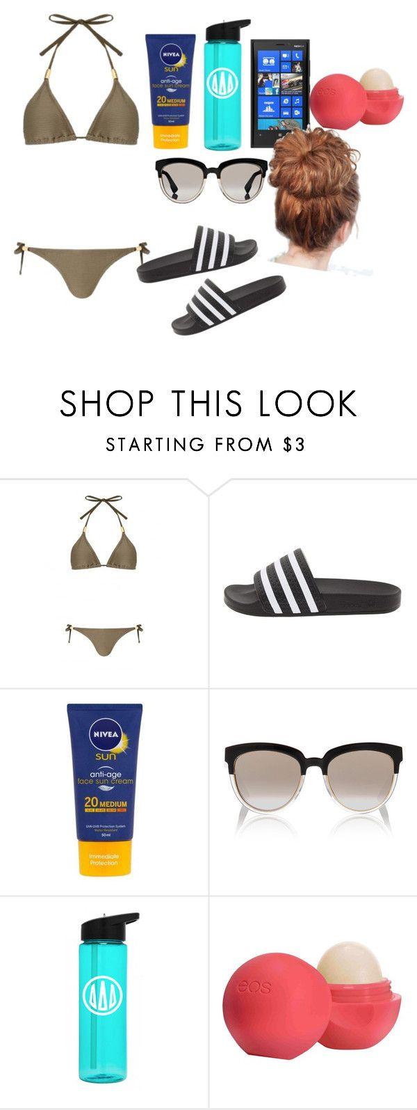 """Love island "" by xmiajohn ❤ liked on Polyvore featuring adidas, Nivea, Christian Dior, Nokia, Eos, GetTheLook, redwhiteandblue, Leggings, beachhair and WardrobeStaples"