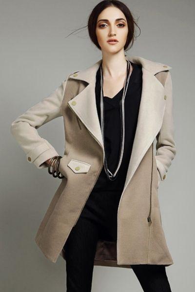 Color Block Off-center Zipper Coat OASAP.com