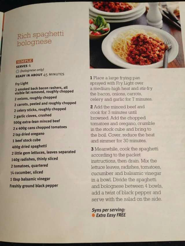 Slimming World Spaghetti Bolognese | Slimming recipes ...