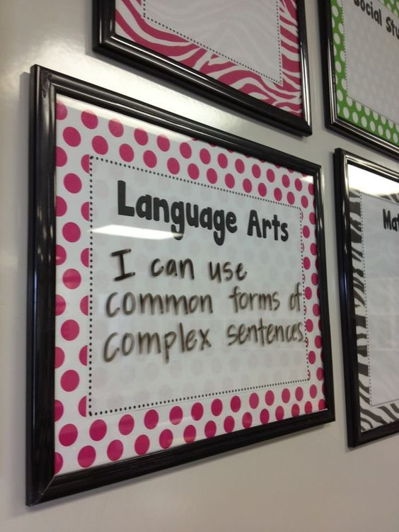 Put your classroom objectives onto a frame and dry erase them daily!