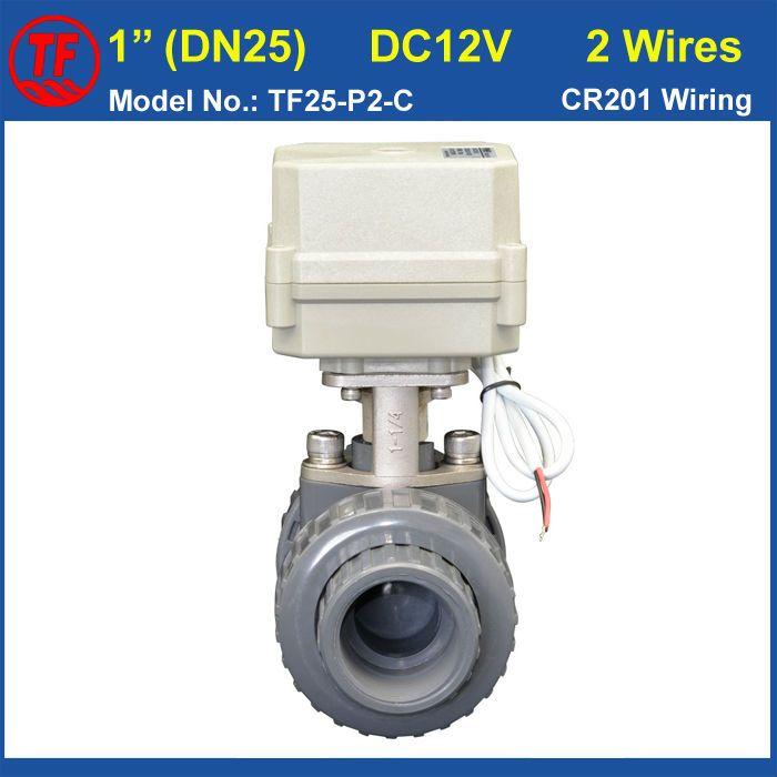 BSP/NPT 1'' PVC DN25 Electric Actuated Ball Valve TF25P2