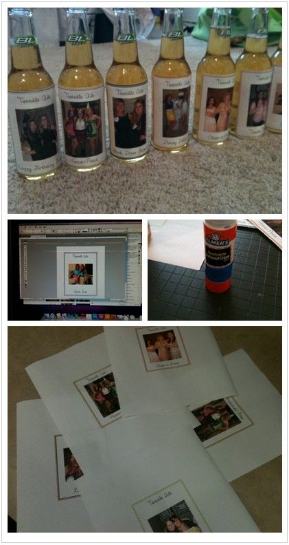Great 21st birthday gift - bottles with homemade labels with memories!