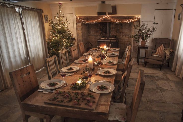Our beautiful farmhouse dining room. The perfect place to celebrate Christmas.