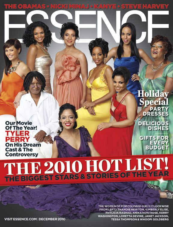 The Women of For Colored Girls (Clockwise  From Left): Thandie Newton. Kimberly Elise.  Phylicia Rashad, Anika Noni Rose, Kerry  Washington, Loretta Devine,  Janet Jackson,   Tessa Thompson & Whoopi Goldberg  Essence Magazine December 2010