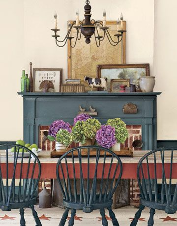 OOOOH... paint the chairs and hutch this color???
