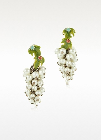 Les Nereides  Fruits d'Automne - White Grape Earrings
