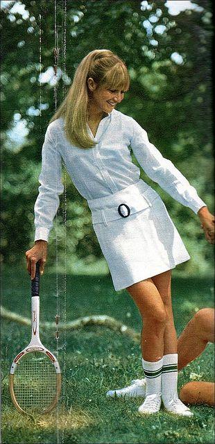 1966 tennis fashion - a hip-hugger skirt.