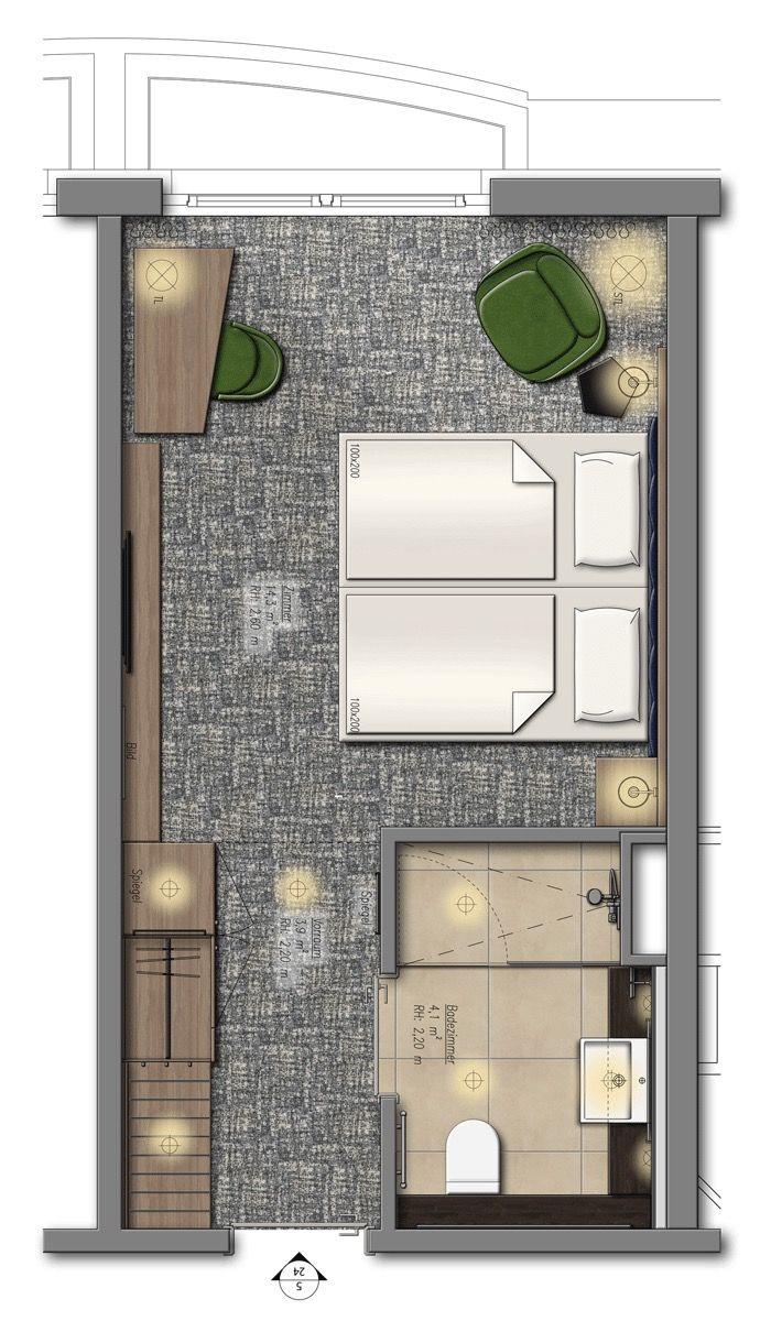 Holiday Inn City Center East Berlin Hotel Room Plan Hotel Room Design Hotel Bedroom Design
