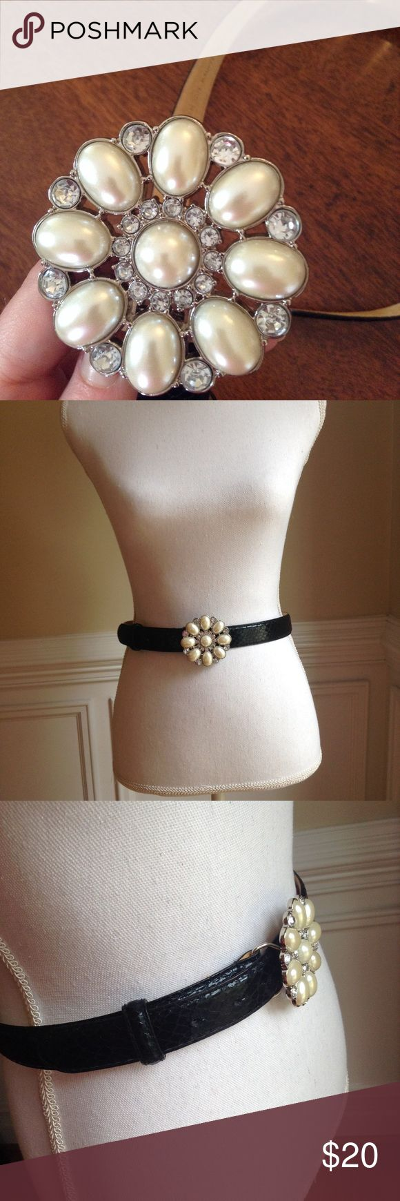 """Embossed Faux Leather Pearl Buckle Belt Sz. S Black embossed faux leather belt with Pearl and rhinestone buckle. Size small. EUC.  35"""" approx.  Smoke free home. Thanks for looking! :) White House Black Market Accessories Belts"""