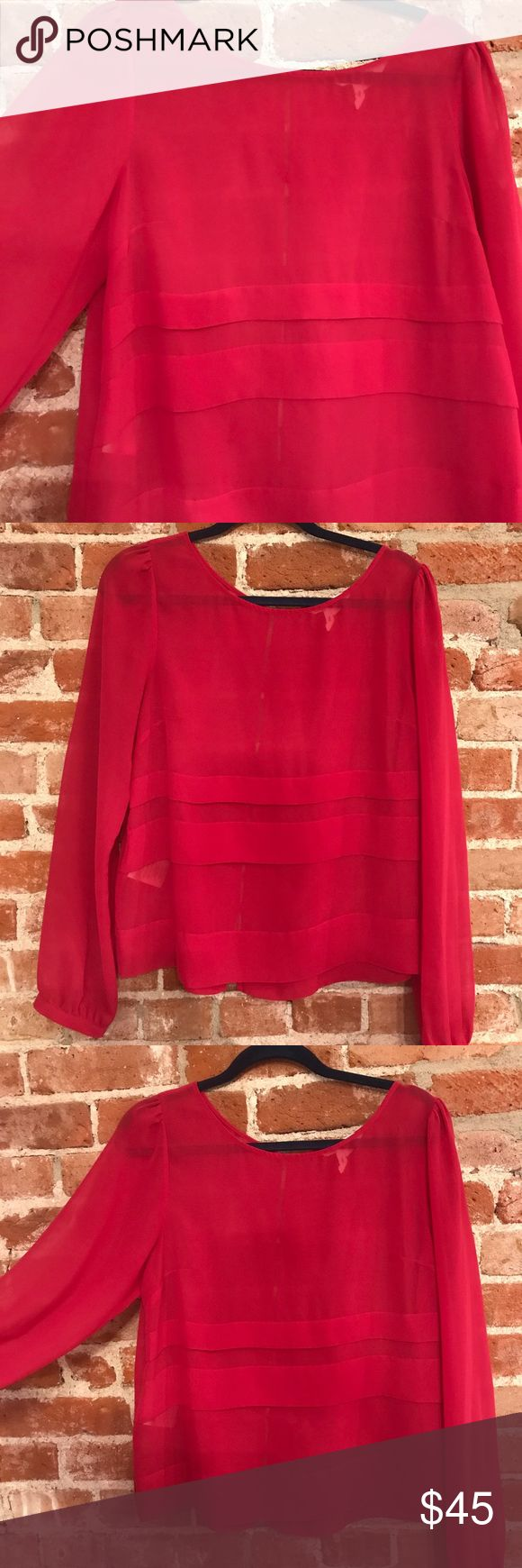 Pink Shear BCBG Top BCBGeneration pink shear top. It has beautiful details on front and back. Size large BCBGeneration Tops Blouses