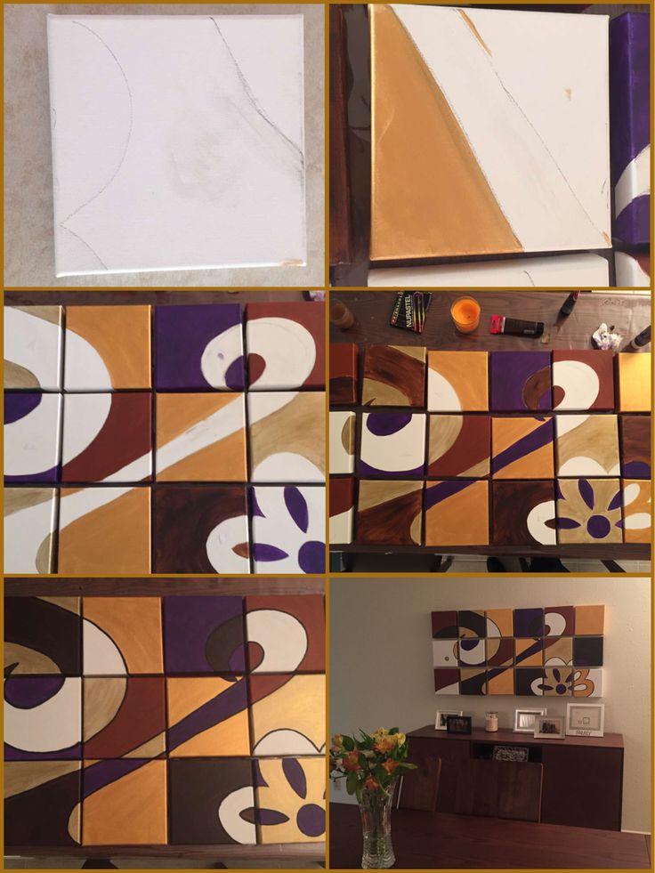 18 cuadrados de 20x20cm, acrílico sobre tela