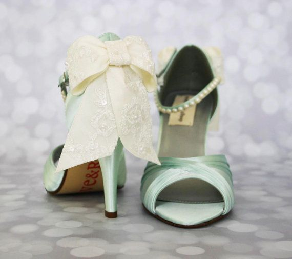 Wedding Shoes -- Mint Peep Toe Wedding Shoes with Ivory Lace Overlay Bow and Pearl Covered Ankle Strap on Etsy, €215,19